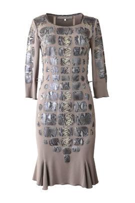 Kleid mit Godetfalten, Singlejersey, appliziert mit Kobraleder-Patches, Multisize