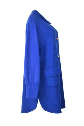 Mantel in T-Cut-Style mit vergoldeten Drehverschlüssen und mit Manchetten, Merino & Kaschmir