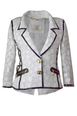 Jacke, elastische Spitze mit Krokolederpatches und Kristallen, Patches: ab 212 Stück
