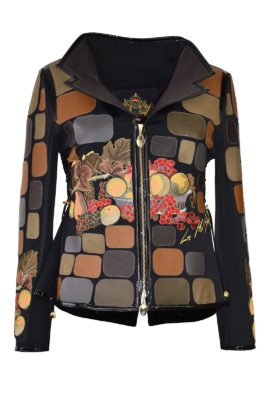 """Jacke mit """"new-still-life"""" embroidery, Nappaleder Patches und Revers"""