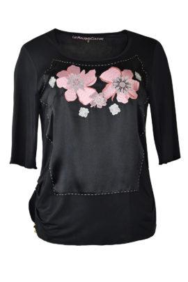 "Shirt mit ""lace-embroidery"", Seide & Jersey, Kurzarm"