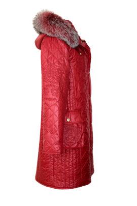 Kultparka mit XL-Fuchsverbrämung, Trekkingtaschen und eingearbeiteter Sicherheitstasche