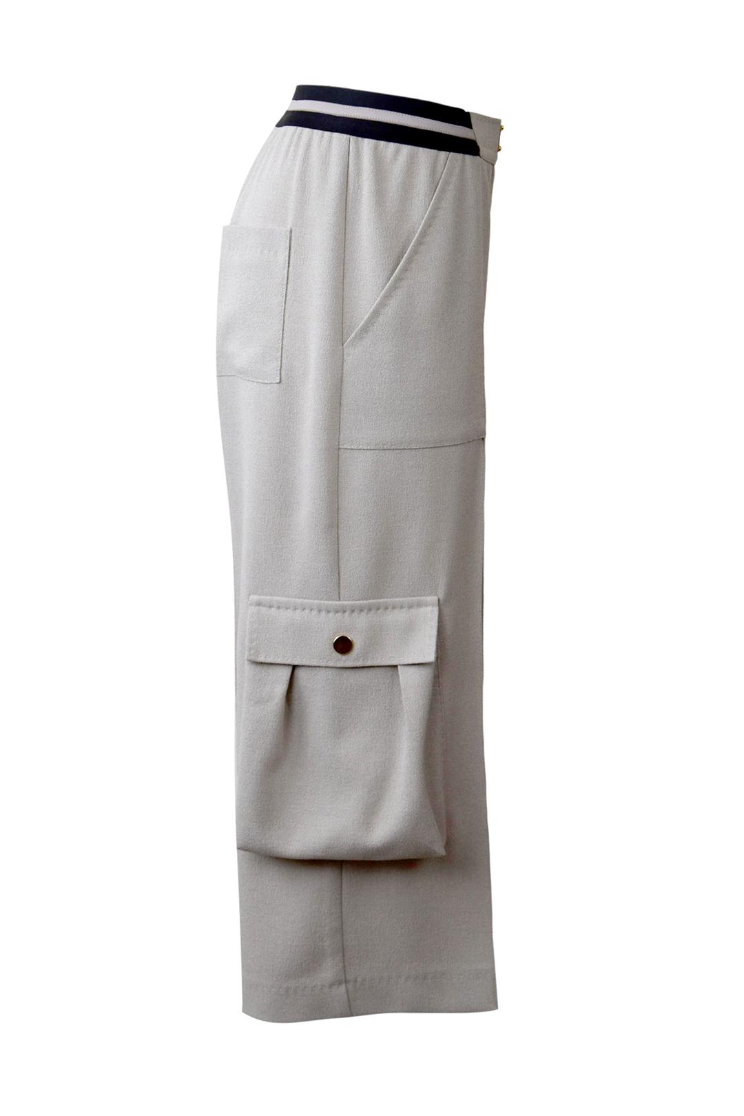 Cargohose mit Trekkingtaschen,mit elastischen Bund in 7/8 Länge, Georgette