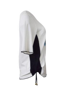 """Shirt mit """"ocean-embroidery"""" und schwarzen seitlichen Einsätzen, Kurzarm"""